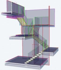 Cantilevered stairs in a multi-level home from Signature Stairs